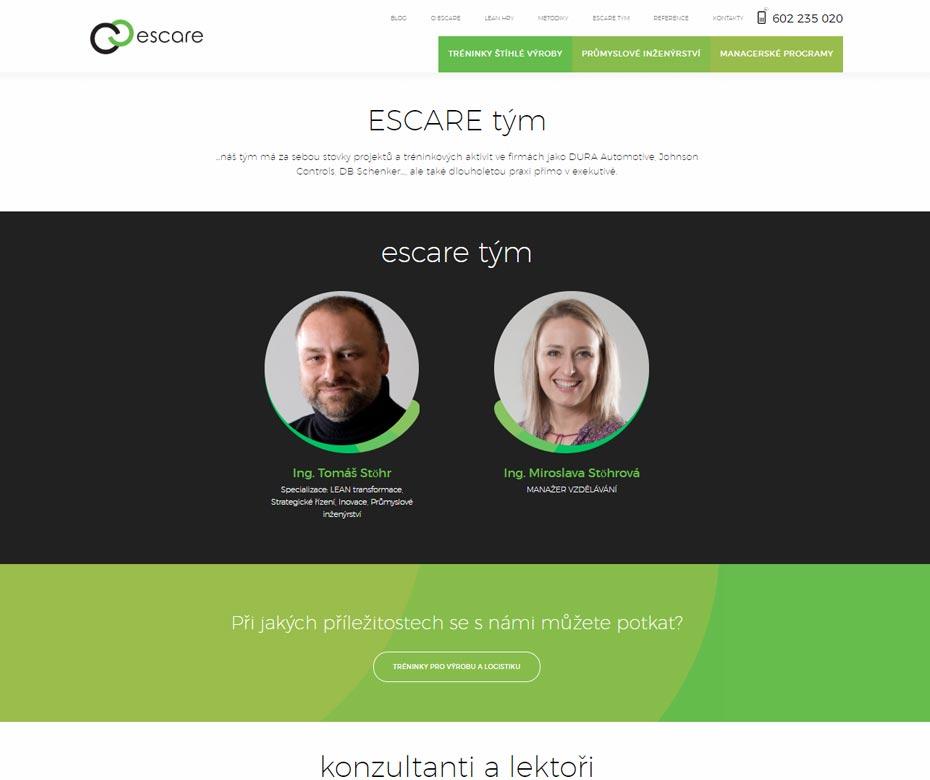 Tým na webu Escare